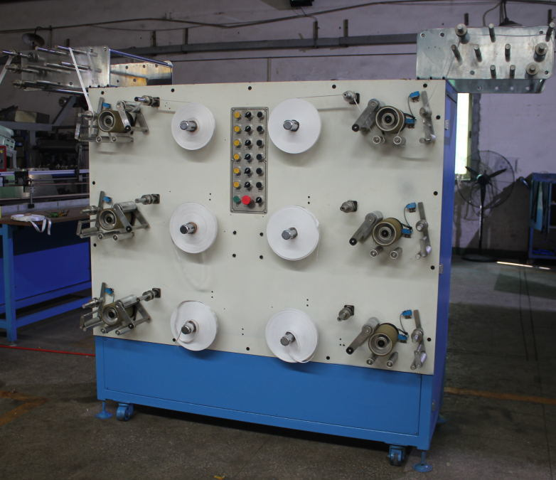 6 Heads Satin Label Ribbons Rolling Machine